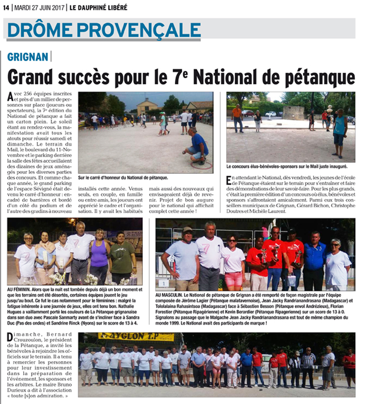 Article de Presse National PETANQUE GRIGNANAISE 2017 Champ.